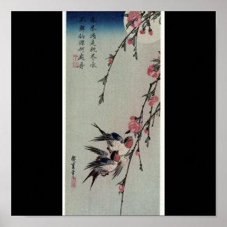Moon, Swallows, and Peach Blossoms circa 1850. Poster