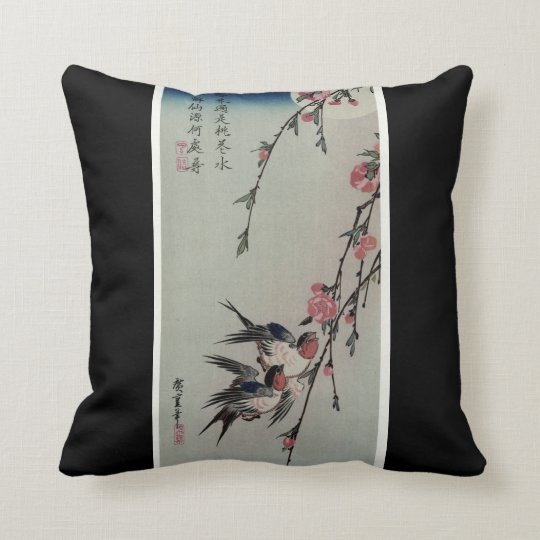 Moon, Swallows, and Peach Blossoms circa 1850 Throw Pillow