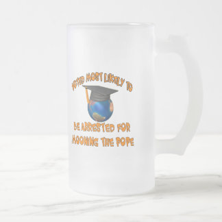 Moon The Pope Frosted Glass Beer Mug