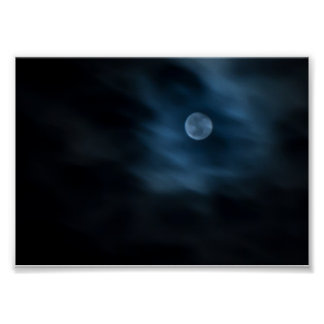 Moon Through Night Clouds Poster Print