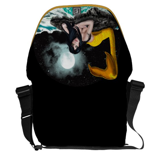 Moon Tide Mermaid Large Messenger Bag