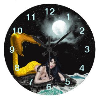 Moon Tide Mermaid Wall Clock