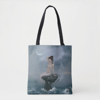 Moon Tide Stormy Seas Mermaid Tote Bag