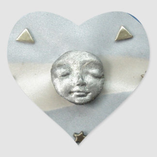 Moon Tranquility - collage Heart Sticker