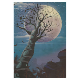 Moon Tree Wood Poster