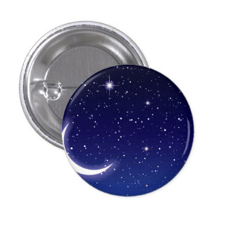 Moon & Twinkling Stars 1 Inch Round Button