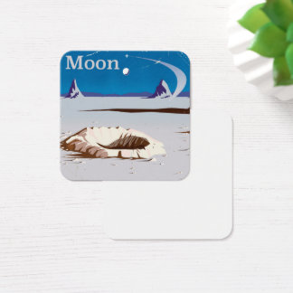 Moon - vintage Sci-fi travel poster Square Business Card