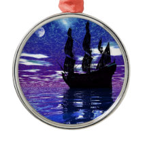 Moon Voyager Metal Ornament