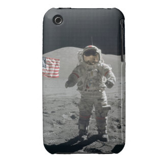 Moon walk astronaut outer space photo usa flag Case-Mate iPhone 3 cases