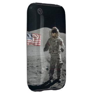 Moon walk astronaut outer space photo usa flag iPhone 3 tough case