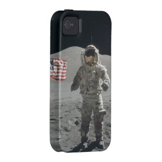 Moon walk astronaut photo in outer space usa flag iPhone 4 cases