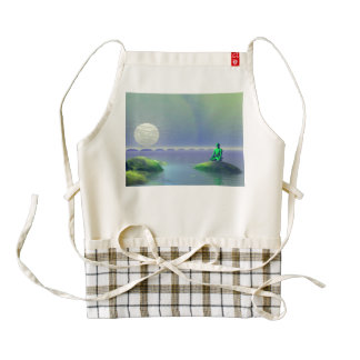 moon white and hills green zazzle HEART apron