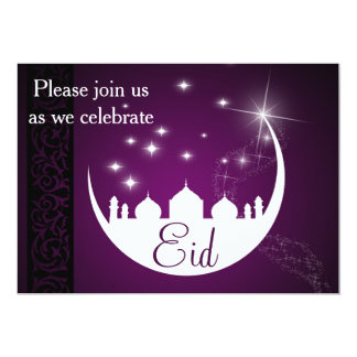 Moon with Mosque Silhouette - Eid Party Invitation