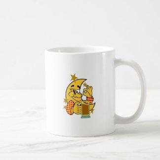 Moon with Nightcap Classic White Coffee Mug