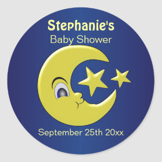 Moon With Stars Personalized Baby Shower Classic Round Sticker