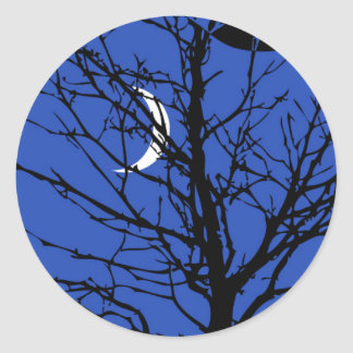 Moon with Tree, Cobalt Blue, Black and White Classic Round Sticker