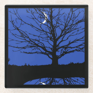 Moon with Tree, Cobalt Blue, Black and White Glass Coaster