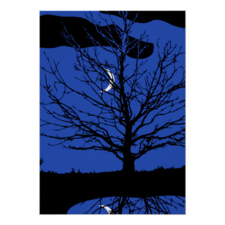 Moon with Tree, Cobalt Blue, Black and White Poster