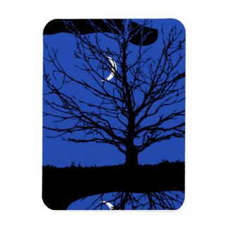 Moon with Tree, Cobalt Blue, Black and White Rectangle Magnets