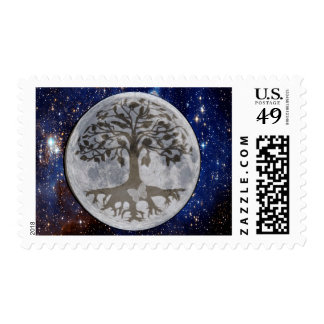 Moon with Tree of Life and Stars Postage