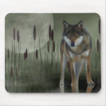 Moon Wolf - Wolf, Animals Mouse Mat