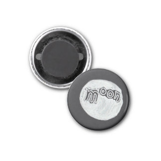 Moon Word Drawing 1 Inch Round Magnet