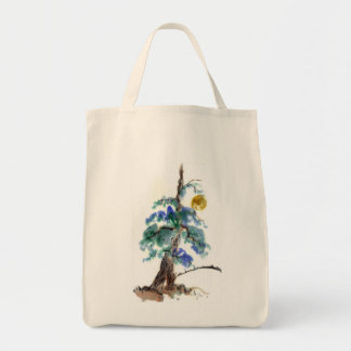 Moonbeams and Pine landscape, Sumi-e ink painting Tote Bag