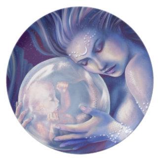 Moonborn - sirena y bebé plato de cena
