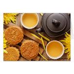 Mooncake and tea,Chinese mid autumn festival 2 Card