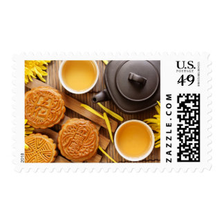Mooncake and tea,Chinese mid autumn festival 2 Stamp