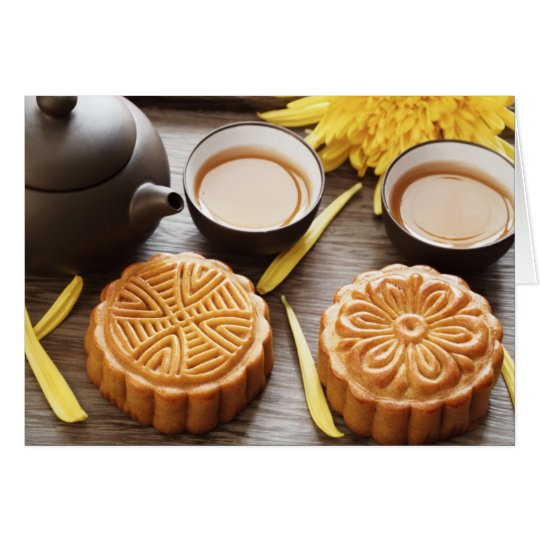 Mooncake And Tea,Chinese Mid Autumn Festival Card