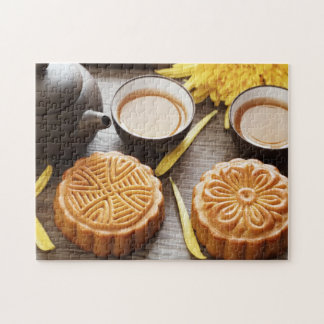 Mooncake and tea,Chinese mid autumn festival Jigsaw Puzzle