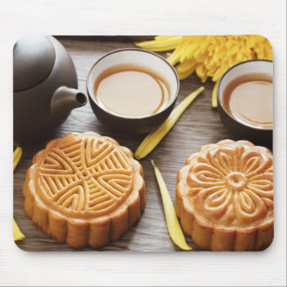 Mooncake and tea,Chinese mid autumn festival Mouse Pad