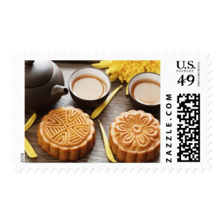 Mooncake and tea,Chinese mid autumn festival Postage Stamp