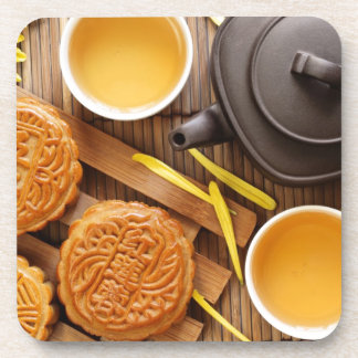 Mooncake y té, mediados de festival chino 2 del ot posavasos de bebidas