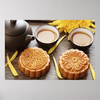 Mooncake y té, mediados de festival chino del otoñ posters