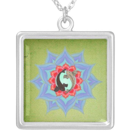 .::MoonDreams::. Koi Lotus Sage Mandala Silver Plated Necklace
