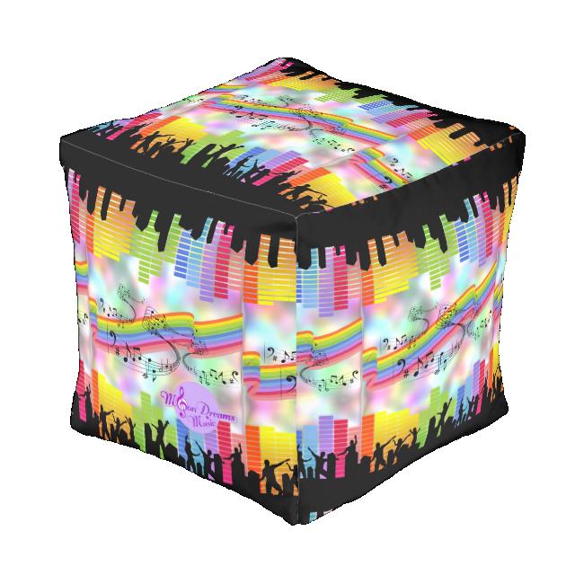 MoonDreams Music Nights Cubed Pouf Cube Pouf