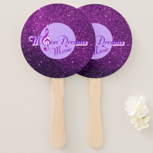 MoonDreams Music Purple Faux Glitter Hand Fan