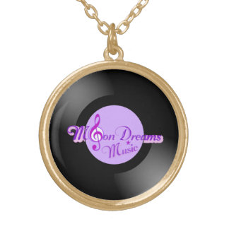MoonDreams Music Record Med. Gold Round Necklace