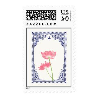 .::MoonDreams::. Vintage Pink Lotus Blue Border Postage