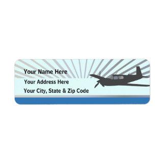 Mooney M20 Aviation Return Address Label