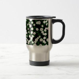 Moonflowers on black travel mug