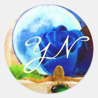 MoonGazer monogrammed Classic Round Sticker