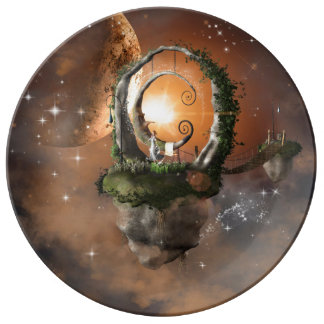 Moonland in the universe porcelain plate