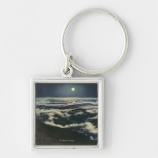 Moonlight Above the Clouds on Mount Washington Silver-Colored Square Keychain