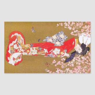 Moonlight and Cherry Blossoms Rectangular Sticker