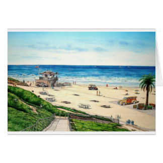 MOONLIGHT BEACH WITH WOODIE-2JPEC GREETING CARD