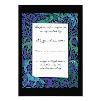 Moonlight Blue Celtic Animals Design Wedding RSVP Announcements