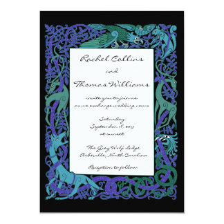 "Moonlight Blue Celtic Animals Wedding Invitation 5"" X 7"" Invitation Card"